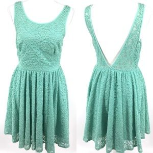 Urban Outfitters green lace backless dress